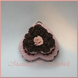 Pink and choco cake - top detail - October 2012